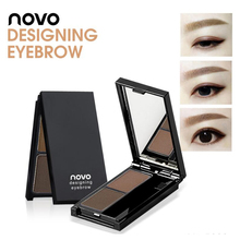 NOVO 2 Colors Eyebrow Powder Eyebrow Enhancer Eye Shadow Palette + Brush Profess