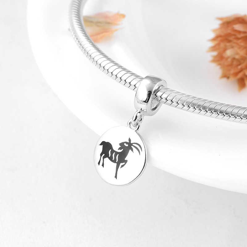 אמיתי 925 סטרלינג כסף 12 גלגל המזלות כבשים בסדר תליוני חרוזים Fit מקורי פנדורה קסם צמיד נשים תכשיטי ma