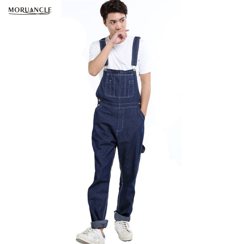 MORUANCLE Fashion Men's Denim Overalls With Pockets Baggy Jeans Jumpsuits For Male Plus Size 28-46 Suspender Pants moruancle men s baggy cargo jeans pants loose straight tactical denim trousers for big and tall size 29 46 side zipper pockets
