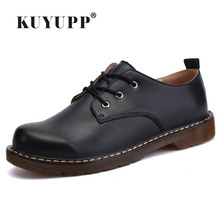 KUYUPP Angleterre Véritable Chaussures En Cuir Femmes Appartements Oxfords Chaussures Casual Dames Chaussures à Lacets Bout Rond Chaussures taille 35-44 PX128