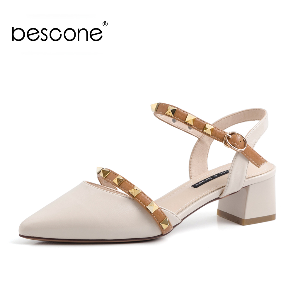 BESCONE Women Casual Sandals Spring Summer Sweet Dress Shoes Comfortable Shoes Rivet Pointed Toe Mid Heels