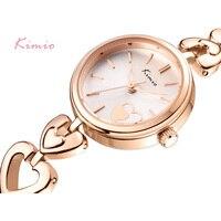 KIMIO 브랜드 럭셔리 여성 석영 시계 사랑 절묘한 골드 팔찌 시계 여성 드레스 손목 reloj Relogio Feminino