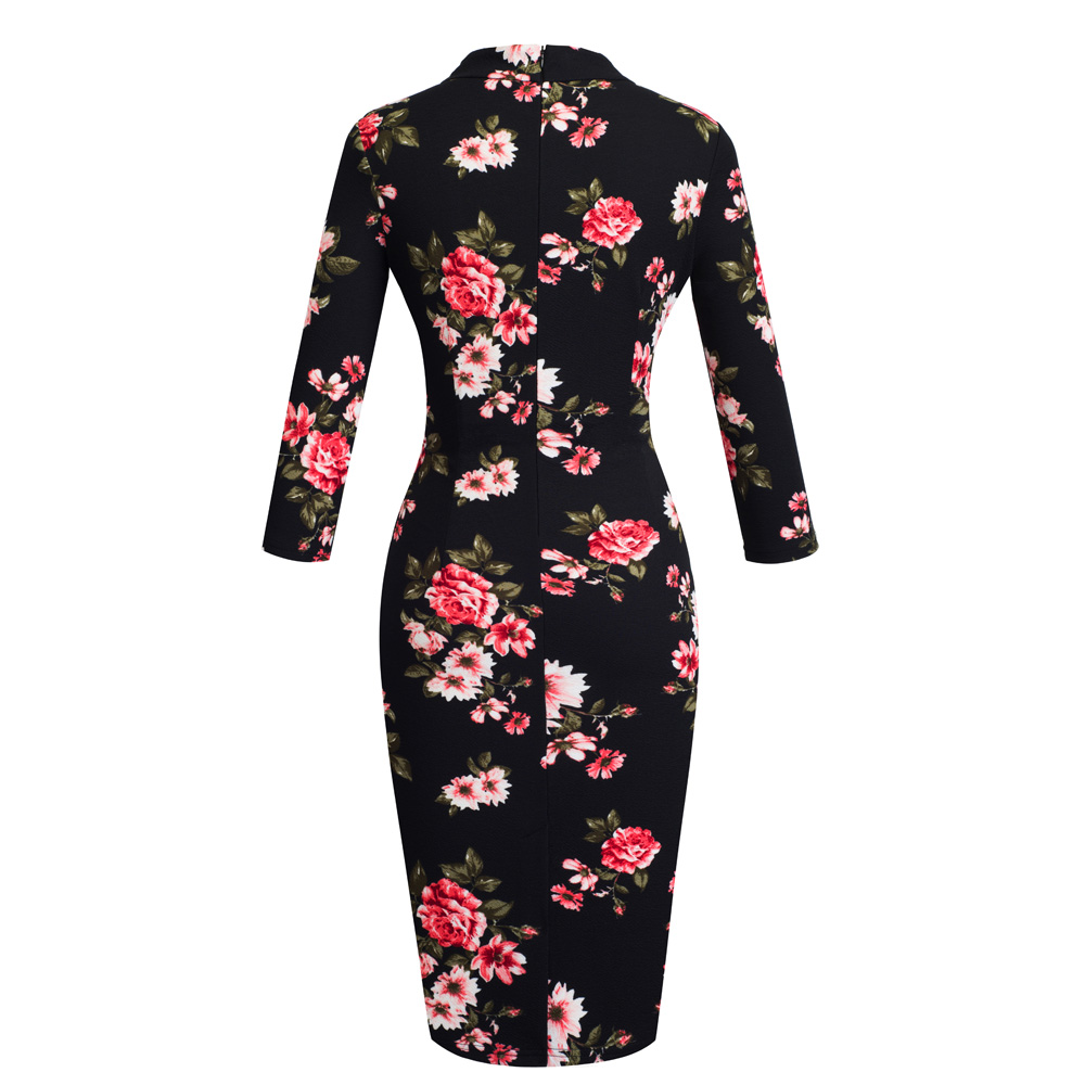 Image 2 - Nice forever Vintage Elegant Floral with Black Bow Work  vestidos Office Business Party Bodycon Women Sheath Dress btyB244Dresses   -
