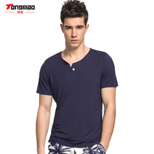 TONGMAO Summer New Fashion Casual Men's Solid color T-shirts Henry collar Short sleeve High quality Men's Slim Tops T-shirt