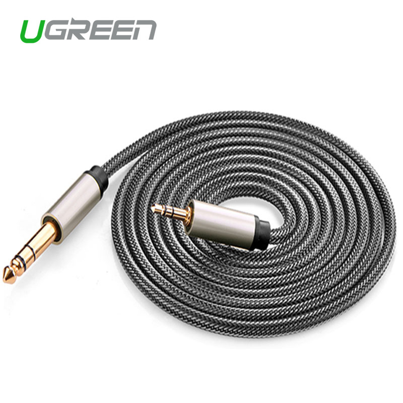 ugreen to adapter aux cable for mixer amplifier cd player speaker gold plated 3 5. Black Bedroom Furniture Sets. Home Design Ideas