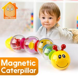 6PCS Little Magnetic Caterpillar Toys For Boys Girls Baby Toys 13-24 Months Infant Rattles Early Educational Toys