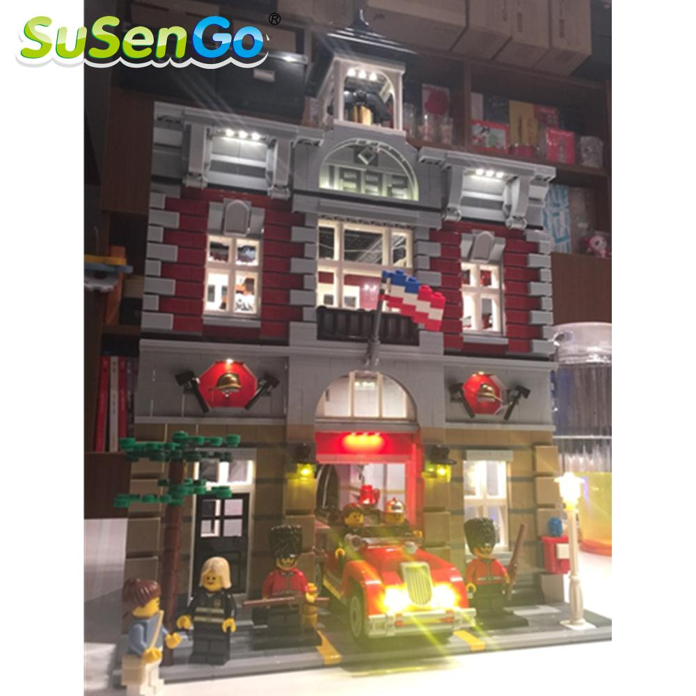SuSenGo LED Light Kit For Fire Brigade Lepin 15004 Compatible With Famous Brand 10197 Building Blocks Toys Light Set lightaling led light set compatible with brand camping van 10220 building model creator decorate kit blocks toys