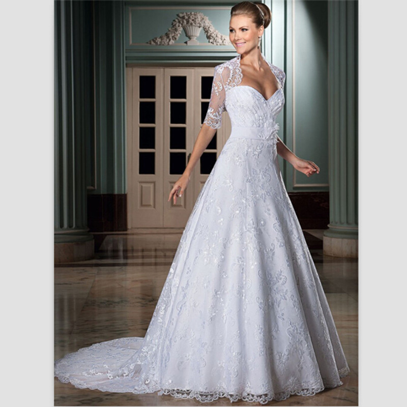 Bride Gowns 2015: Elegant White Lace Wedding Dress 2015 Chapel Train Beaded