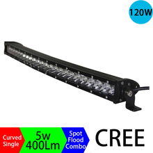 120W 3D Long Distance Super Slim Single Row Curved Work Car Light Bar Offroad Driving Lamp Auto Parts SUV UTE 4WD ATV Boat 12V