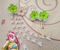 Hand Made Sakura Kyouko Włosów Barrettes Klipu Szpilka Magical Girl Japoński Styl Cosplay Zamówienie Stroik Zielony Kimono Wentylator