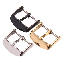 HENGRC Watch Buckle 16 18 20 22 24mm Polished Black Glod Solid Stainless Steel Watchband Strap Clasp Accessories wholesale 10pcs set metal watch buckle 18 20 22 24mm men watchband strap 316l stainless steel clasp accessories