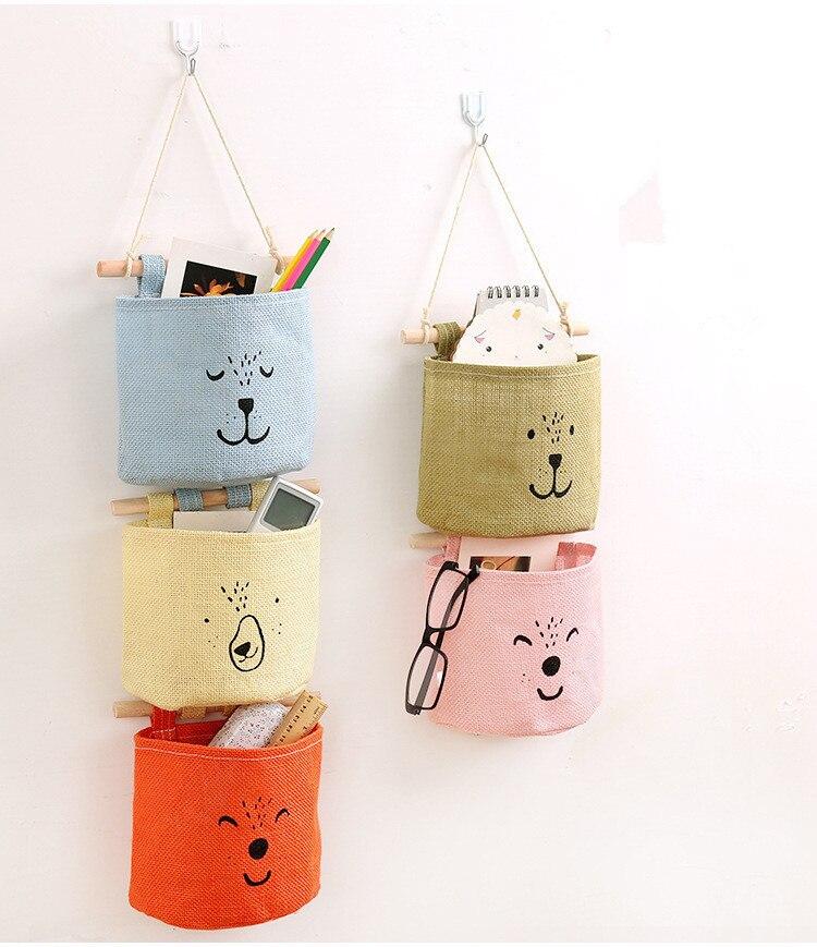 1PC Zakka Cartoon Door Hanging Bag Cotton Hanging Organizer Wall Pockets on Window Stationery Cosmetics Storage Box OK 0446