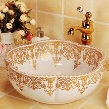 Европейский Винтажный стиль ручная роспись умывальник искусство для ванны, с установкой на столешницу ручная роспись раковины в форме цветка золотой узор раковина для ванной комнаты