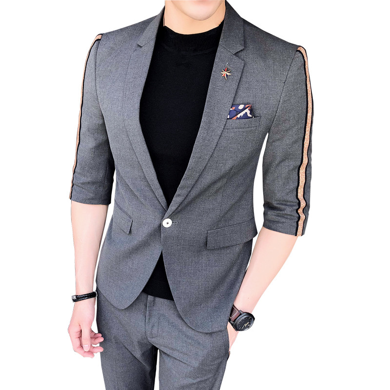 Spring Summer Men's Blazer Two-piece Short-sleeved Suit Jacket Stitching Stripes Slim Suit + Pants Two-piece High-quality Suits