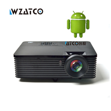WZATCO 6000 ANSI Lm USB HDMI Quad core Android 4.4 WiFi Iglesia Data Show inteligente 1080 P 3D proyector luz del día hd beamer proyector