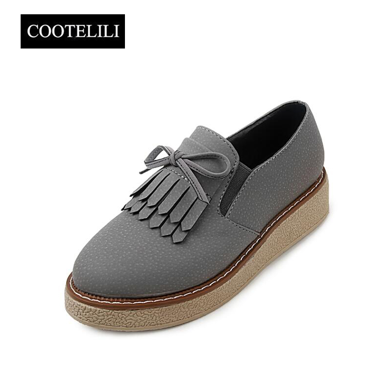 COOTELILI Autumn Women Oxfords Platform Casual Shoes Woman Slip on Loafers with Bow-knot Tassel Black Pumps Pink Gray 35-39 2017 shoes women med heels tassel slip on women pumps solid round toe high quality loafers preppy style lady casual shoes 17