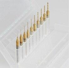 10 Titanium Nitride Coated Carbide 0.2mm-1.1mm PCB Dremel CNC Drill Bits Router
