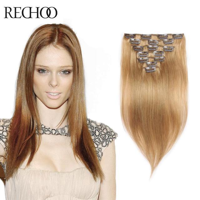 Nueva llegada brasileña del pelo extensiones Remy Clip en extensiones del pelo humano Clip en el pelo humano 7 unids envío directo gratis