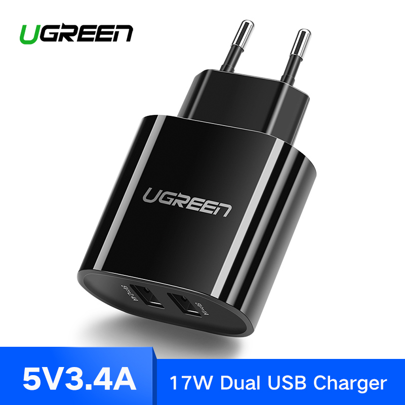 Ugreen cargador USB 3.4A 17 W para iPhone 8X7 6 iPad Smart USB cargador de pared para Samsung Galaxy s9 LG G5 teléfono móvil Dual