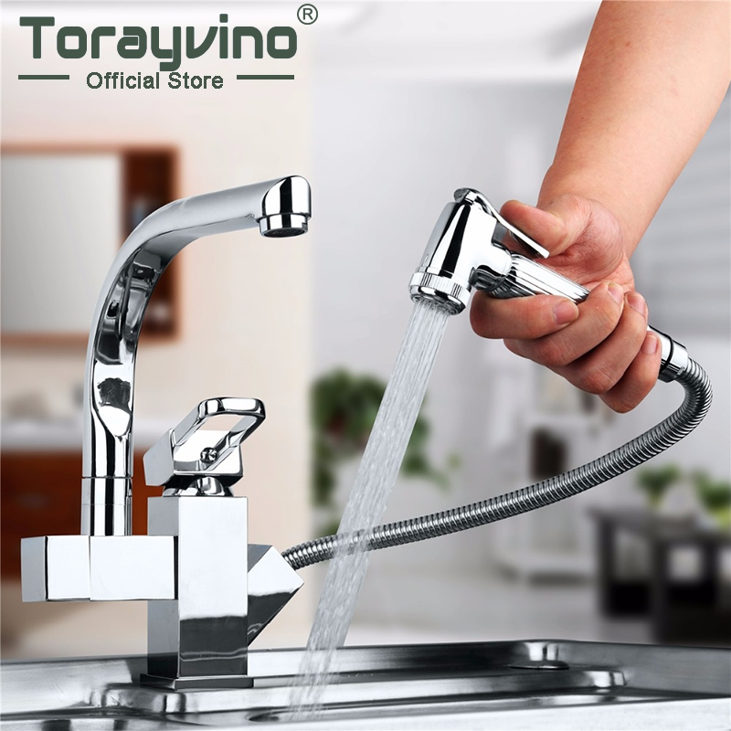 Torayvino Bathroom Basin Faucet Pull Out Swivel And Pull Out Kitchen Faucet Two Spouts Faucet Deck Mounted Sink Chrome Faucet