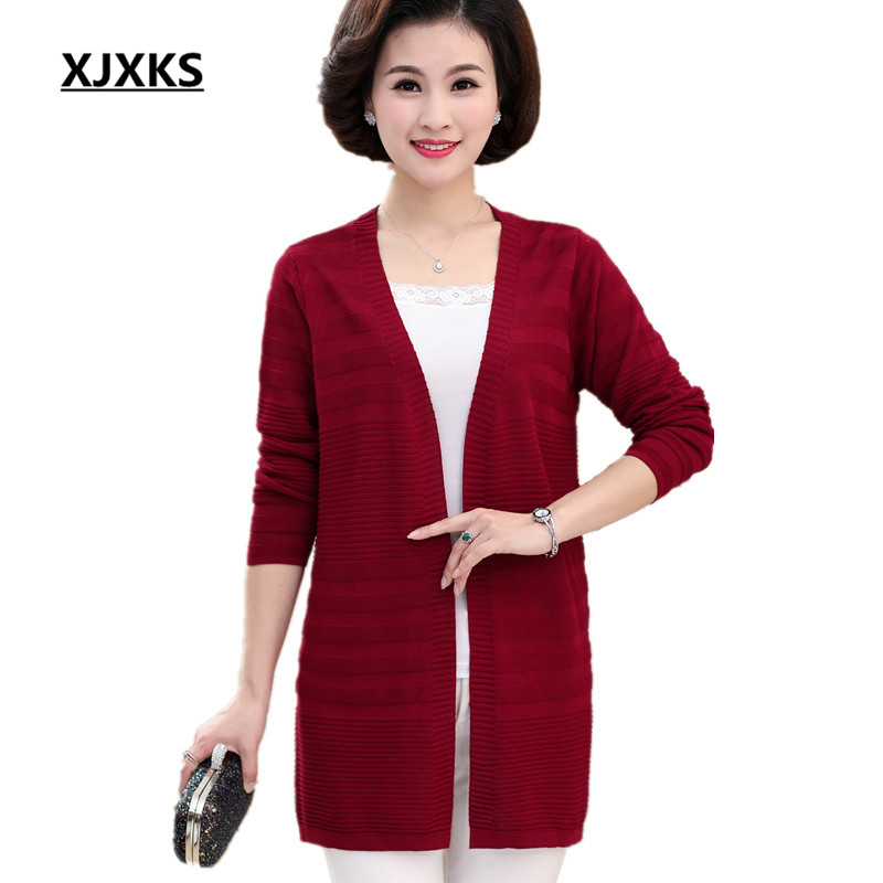 XJXKS Women s knitted cardigan 2018 spring and autumn new loose plus size solid color V