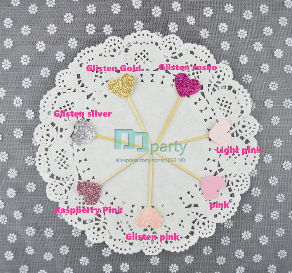 40PCS Handmade Princess pink Heart Wedding Cupcake Toppers, baby ...