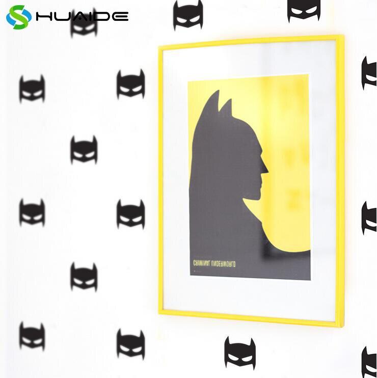 10X8cm Superhero Wall Art Decals 50pcs/set Black Vinyl Wall Stickers ...