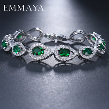 EMMAYA AAA High Quality Green Crystal Stone Bracelets For Ladies Fashion Cheap Women Wedding Jewelry(China)