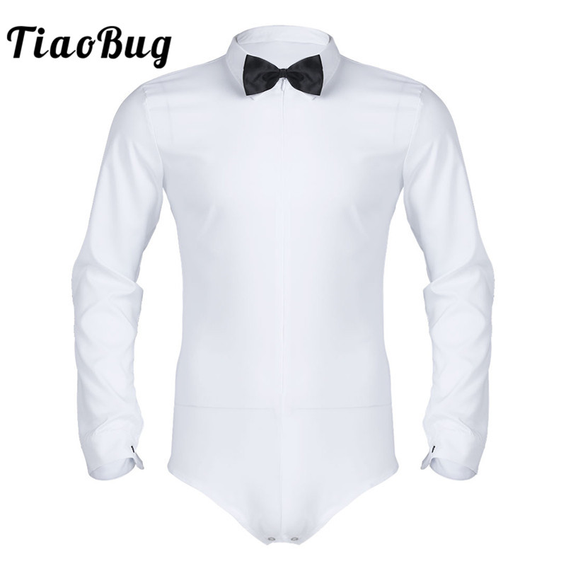TiaoBug Men Long Sleeve Zipper Solid Color Latin Modern Dance Shirt With Bowtie One-piece Romper Shirt Male Social Tuxedo Shirts
