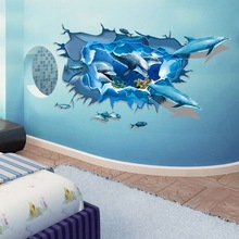 Emerra 3D Stereo Wall Decoration Painting Creative Living Room Self-adhesive Children Cartoon Dolphin