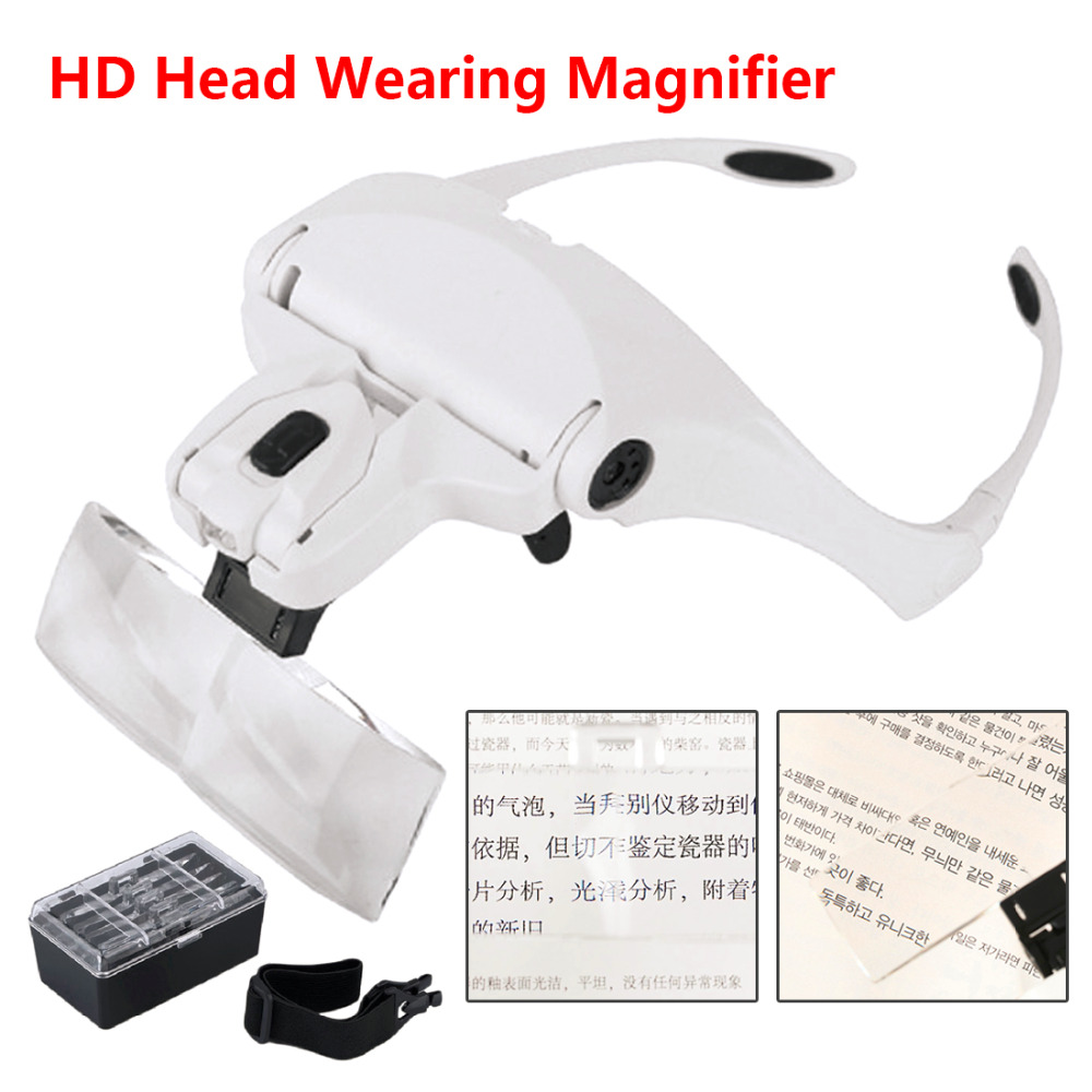 1.0X 1.5X 2.0X 2.5X 3.5X Adjustable 5 Lens Loupe LED Light Headband Magnifier Glass LED Magnifying Glasses With Lamp 1 0x 3 5x 5 lens magnifier adjustable headband loupe magnifying glasses with 2 led lamp headset jewelry circuit repair tools