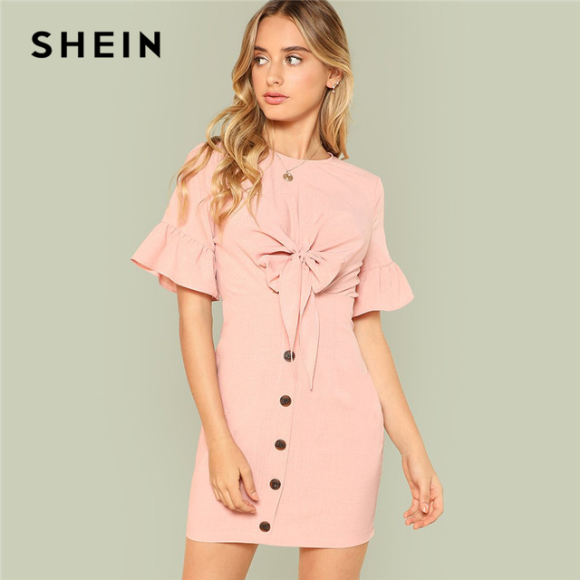 367accb681f0f US $31.67 |SHEIN Pink Elegant Office Lady Workwear Ruffle Flounce Sleeve  Summer Bodycon Dresses 2018 Knot Cutout Front Pencil Dress -in Dresses from  ...