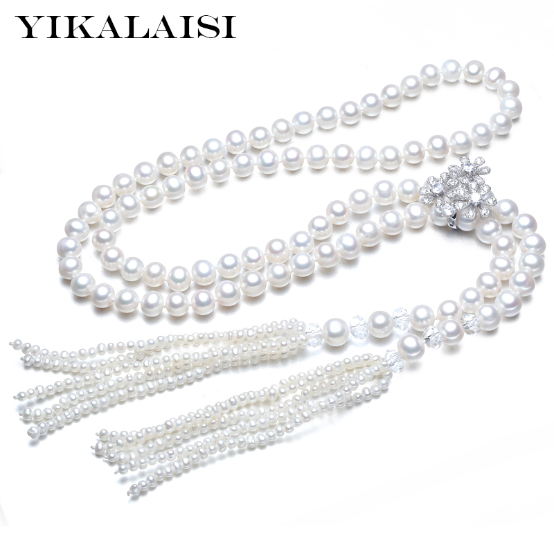 YIKALAISI 2017 New Fashion 100% Genuine Fashion Pearl jewelry Necklace Natural Pearl Long Necklace 100cm For Women Best Gift