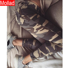 Nieuwe Stijl Camouflage Hoge Taille Leggings Stretch Sexy Workout Negende Broek(China)