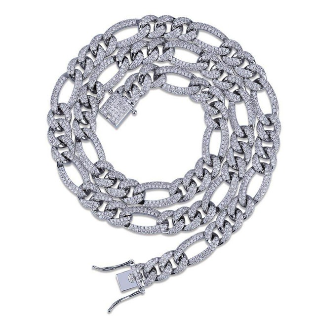 10mm NK Link Chain Necklace For Men Gold Silver Color Hip Hop Bling Iced Out Paved Rhinestones CZ Rapper Necklace Jewelry 18″22″