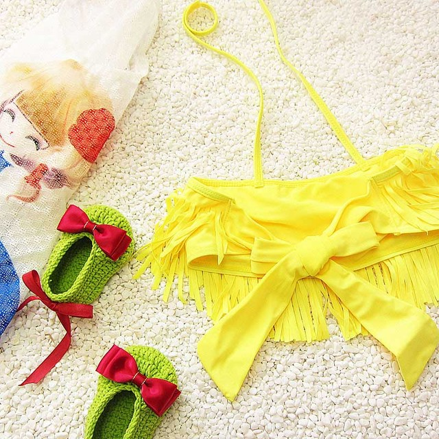 New Arrival Mode Split Swimwear For Children Korean Version Tassel Print Two pieces Girls Bathing Suit Kids Bikini Set 62377