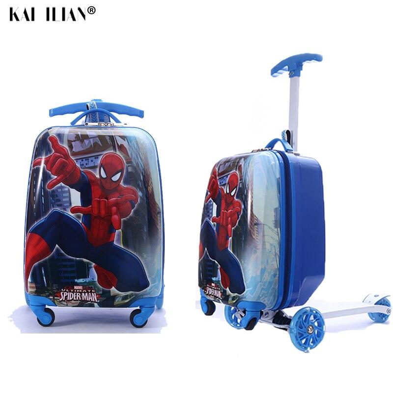 Viaggio valigia su ruote regalo del bambino di scooter valigia cabina di skateboard trolley pigro sacchetto dei bagagli per i bambini del fumetto di rotolamento dei bagagli