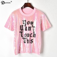 JOYDU Runway Design tshirt 2019 Letters Sequins Embroidery Knitted T shirts Women O neck Short Sleeve Top Casual Summer T shirt