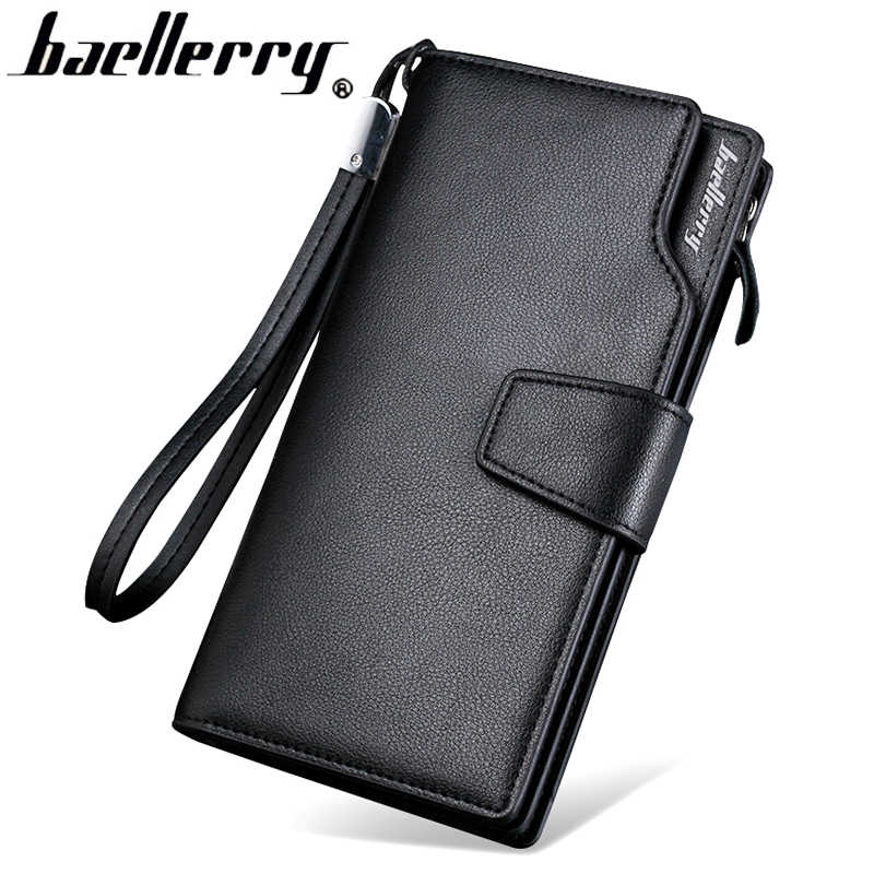 477472458f8b Портмоне baellerry для мужчин одежда высшего качества кожаный бумажник  кошелек мода повседневное мужской клатч на молнии
