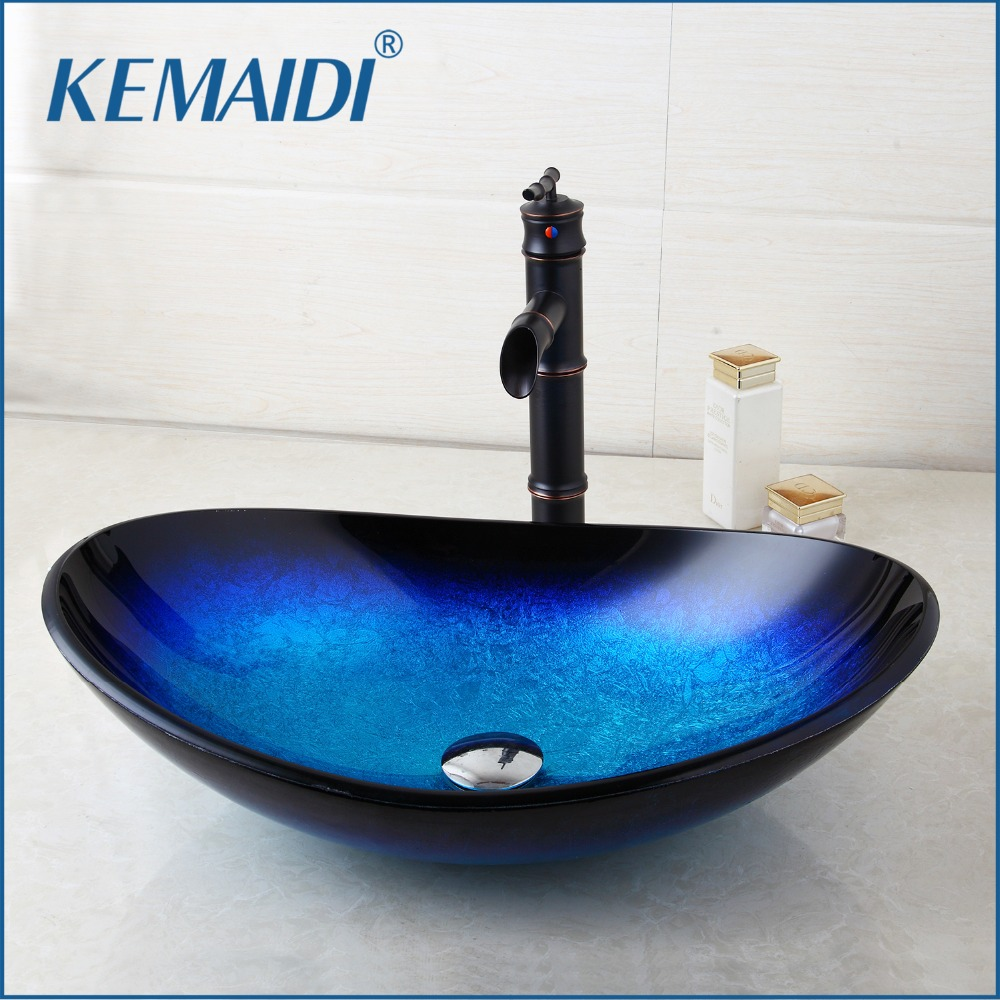 KEMAIDI US Stock Round Taps Bathroom Glass Basin Sink Faucet Vessel Drain Combo Set Counter Top Water Mixer Vanity Stream Spout цена