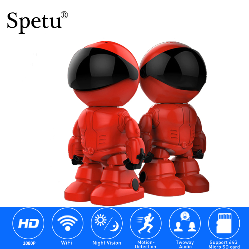 Spetu Smart Robot IP Camera HD WIFI Baby Monitor 1080P 2MP CMOS Wireless CCTV P2P PTZ Audio Security Home Wi-fi IR Night Vision robot camera wifi 960p 1 3mp hd wireless ip camera ptz two way audio p2p indoor night vision wi fi network baby monitor security