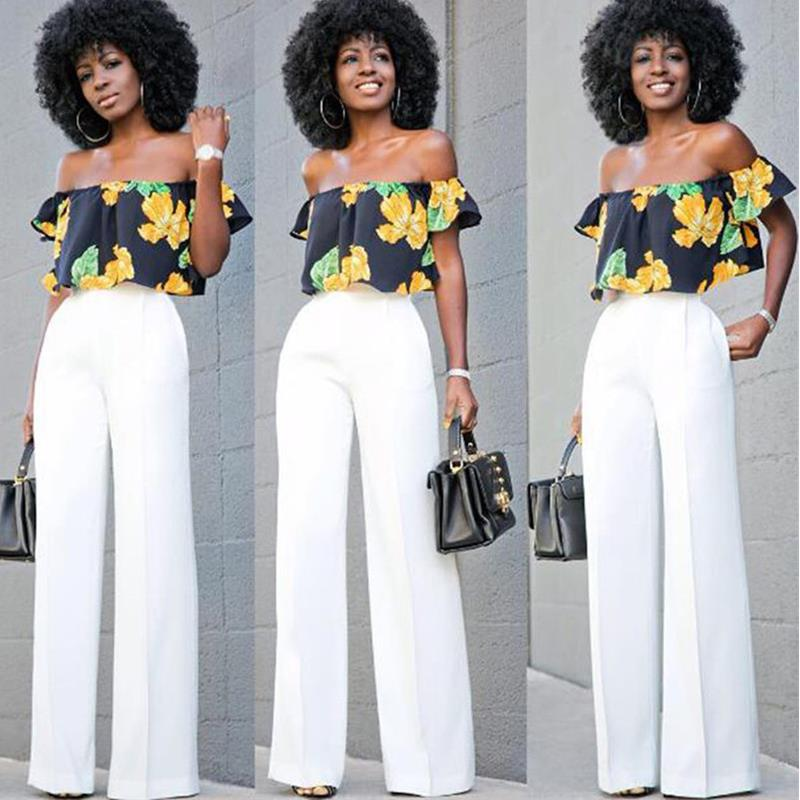 Hot Summer Women Loose Slash Neck T-Shirt + Pants White Chiffon Trousers Suit Sexy Fashion Bodysuit Women 2 pieces Set Vestidos