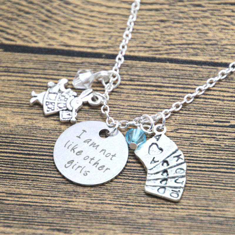 12pcs/lot Alice in Wonderland Inspired Necklace I am not like other girls Silver tone crystals