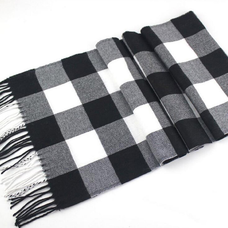 2017 Winter Women Fahion Arcylic Soft   Scarf   Tassel Plaid Men Warm Tassel   Scarves     Wrap   Long Pashmina Neck Muffler M12