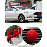 Fashion Christmas Funny Car Decoration Car styling Toy Windows Reindeer 2pcs Antlers with 1 Red Nose Home Party Decoration