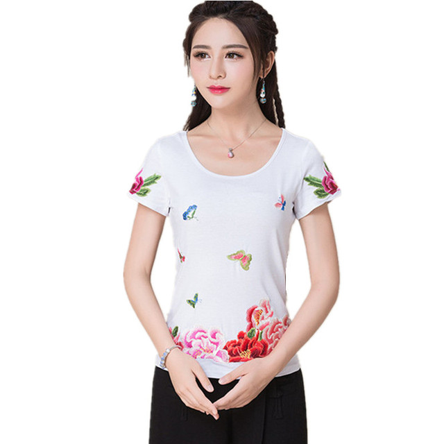 Summer M-5XL Short Sleeve Women Body Tops Tee Cotton Quality Embroidery T-Shirts Blusas Feminina Vintage O-Neck T Shirt Clothes