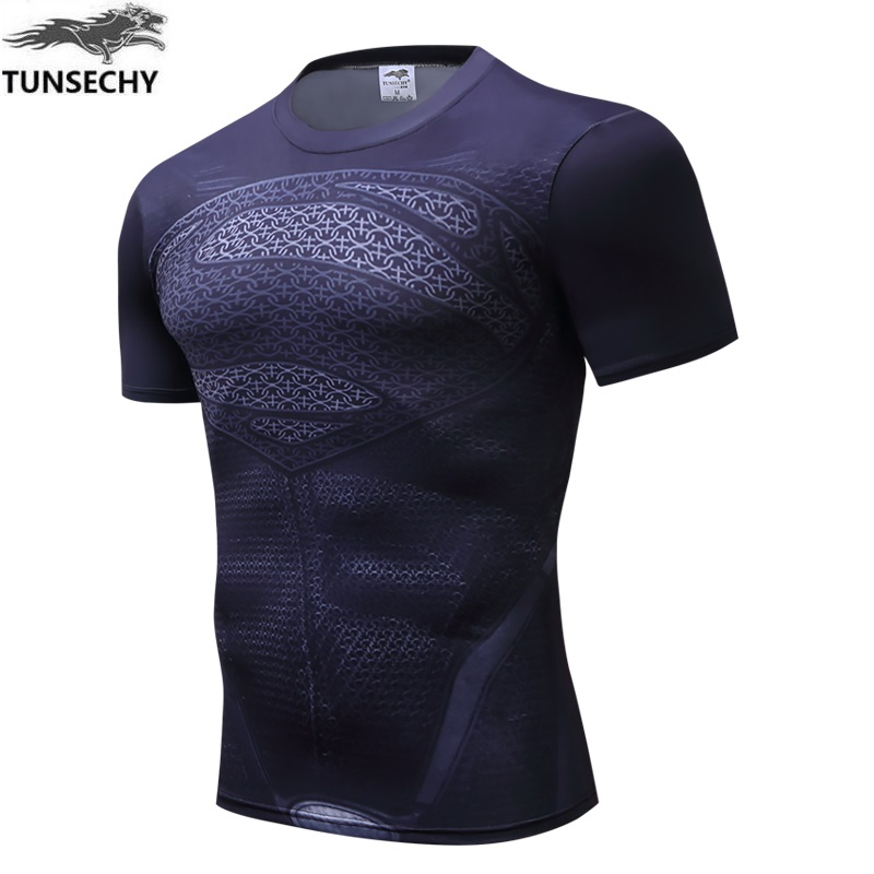 TUNSECHY sale Mens Boys Compression Base Layer Round collar Short Sleeve T-shirt Wholesale and retail Free transportation