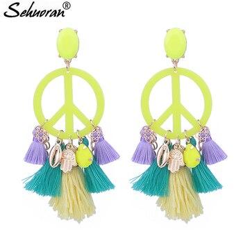 acc968f1c053 Sehuoran nuevo diseño de Color borla pendientes grandes en forma de paz  pendientes para mujer declaración Oorbellen joyería encanto gota pendientes