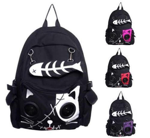 Speaker Bag KIT Cat Animal Rucksack Backpack Emo Gothic Plug Play Fish Bone Boys Girls Gift