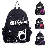 Speaker Bag KIT Cat Animal Rucksack Backpack Emo Gothic Plug & Play Fish Bone Boys Girls Gift
